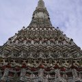The 67 meter high stupa at Wat Arun, or the Temple of Dawn,  is decorated with pieces of Chinese porcelain