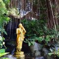 A Buddha image at a garden in the compound of Wat Saket (Temple of Golden Mount)